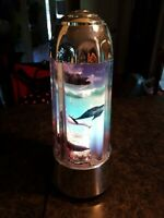 """Vintage Dolphin & Ocean Rotating Motion Lamp 15"""" ~ Novelty Unique & Rare 1990's"""