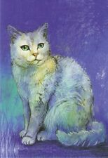 Postkarte: Die weiße Katze - Le chat - the white cat - Malerei von Loes Botman