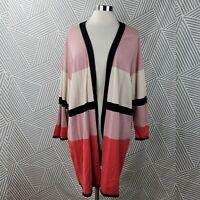 Alfani plus size 2X 18/20 Open Front cardigan Sweater Long Pink Black Open Front