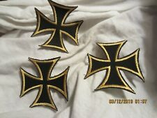 IRON CROSS PATCHES, 3 EA. NOS, FOR BIKERS, SKATE BOADERS, INDEPENDENTS