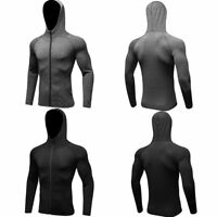 Men's Compression Tops Fitness Workout Spandex Hooded Zipper Hoodies Tight fit