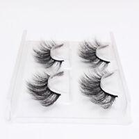 2Pairs Faux Mink Natural False Eyelashes Volume Long Lashes Makeup Extension New