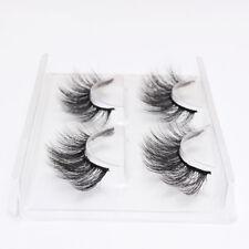 2 Pairs 3D Faux Mink Natural False Eyelashes Thick Volume Long Lashes Extension