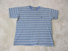 VINTAGE Guess Jeans USA Shirt Adult Small Blue Green Striped Spell Out ASAP 90s