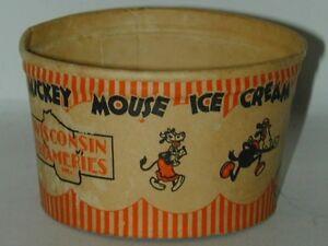 Mickey Mouse Premium Ice Cream Cup Wisconsin Creameries 1930s