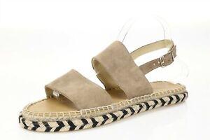Womens MATT BERNSON 160053 Taupe Suede Espadrille Sandals sz. 10