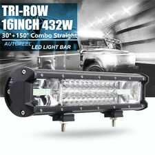 16 Inch 432W Tri-row 7D LED Work Light Bar Flood Spot Combo Off Road SUV ATV New