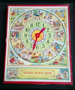 Vintage 1950's/1960's VICTORY Wooden Picture Puzzle Clock (Boxed) Acc. Condition