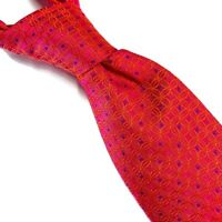 "Charles Tyrwhitt 100% Luxury Mens Silk Neck Tie Pink Blue Geometric 3.25""W 61""L"