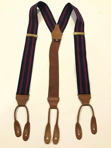 Albert Thurston London Men's Red & Blue Striped Suspenders- Retails $120
