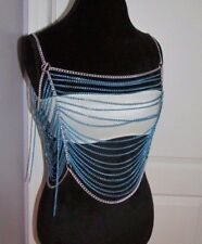 Belly Dancing Vintage Blue Turquoise Open Chain Top With Bandeau