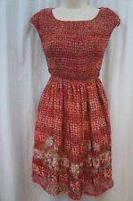 Studio M Dress Sz XS Red Multi Color Sleeveless Smocked Top Casual Semi Sheer