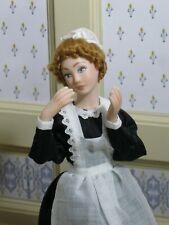 Debra Hammond Maid Doll in Black Uniform - Artisan Dollhouse Miniature