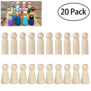 20pcs Unfinished Wooden Peg Dolls Wooden Tiny Doll Bodies People Decoratio PG