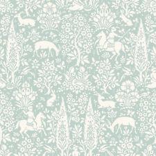 Duck Egg Animal Print Wallpaper Rabbits Deer Stag Woodland Flowers Birds