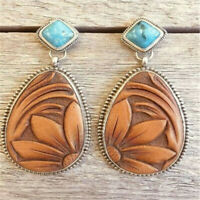 Vintage Women Turquoise Alloy Ear Stud Dangle Bohemian Earrings Wedding Jewelry
