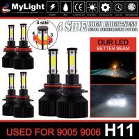 6x 4Sides 9005 9006 H11 LED Headlight Combo Bulb 6500K High Low Beam Super White