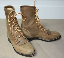 *** BOTTINES FEMME A FRANGES LACETS CUIR JUSTIN BOOTS T. 39 TBE  ***