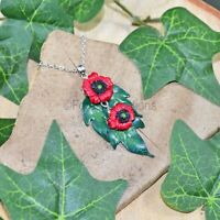 Poppies & Leaves Pendant Necklace - Polymer Clay Jewellery Poppy Remembrance