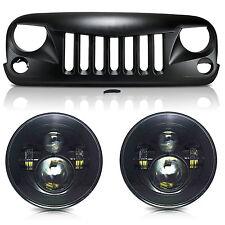 07-17 Wrangler JK/Rubicon 60W LED Headlights/Matte Black Angry Bird Front Grille