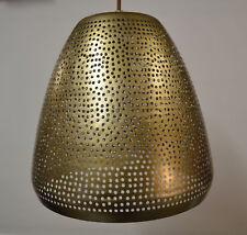 GOLD HAMMERED METAL LARGE PENDANT LIGHT BROWN CORDED FLEX