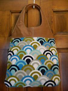Jonathan Adler Vintage Print Tote Hand Bag Purse Brown Leather Handle ~Mint!~