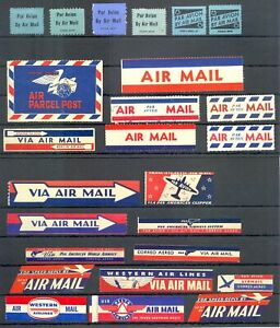 USA - AVIATION -AIR MAIL --25 x VINTAGE LABEL--VF -@ 10