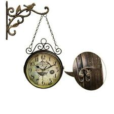 Double Wall Station Clock Vintage Decor Garden Home Sided Antique Mount Retro