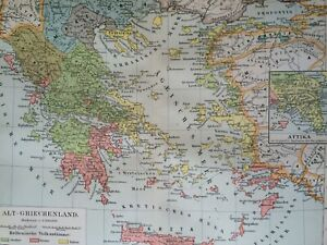 1896 Ancient Greece Original Antique Map Classics Attica Mounted & Matted