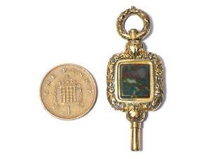 18thC Georgian Large Blood Stone Fusee Verge Pocket Watch Key Winder   #WK27