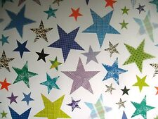 2 SHEETS STARS WRAPPING PAPER - BLUE BACKGROUND - BIRTHDAY, GIFT, PRESENT (029)