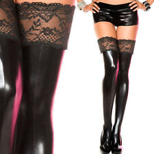 Stripper Dance Rave Club Wear Black Mock-Latex Wet Look Lace Thigh High Stocking