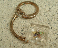 Vintage OES Masonic Gold Star Encased In Lucite Key Ring Keychain Freemason