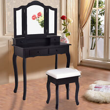 Black Vanity Makeup Dressing Table Set W/Stool 4 Draweru0026Mirror Jewelry Wood  Desk
