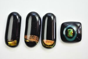 Lot of 4 Jewelry Tone Black Colors  Glass Cabochons NO HOLE  Handmade