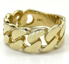 10.40 Grams 9mm 14k Yellow Real Gold Mens Miami Cuban Hip Hop Ring