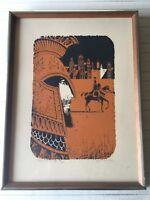 """Vintage 1970's Eugene Ames Baker Serigraph, """"Return to the City."""" 20/200, Framed"""