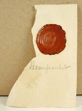 Famille Beauprainhet Cachet de cire armoirie seal Sceau héraldique blason