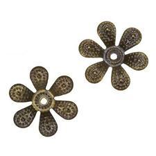 Antique Brass Filigree Six Petal Flower Bead End Caps 18mm - Pack of 2 (C43/14)