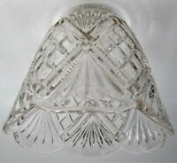 "Vintage Clear Glass Pendant Lamp Shade 2 1/4"" Fitter Diamonds & Wheat Scalloped"