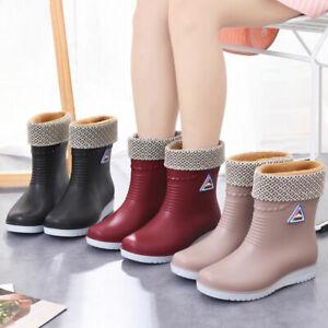 Ladies Womens Winter Rain Flat Chelsea Ankle Wellies Wellington Boots Shoes Sz5