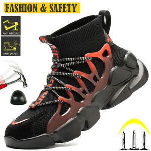 MENS SAFETY WORK TRAINERS STEEL TOE CAP WORK LIGHTWEIGHT BOOTS HIKING SHOES UK13
