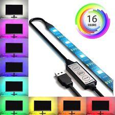 USB Powered RGB 5050 LED Light Strip Computer TV Backlight Remote 16 Colors Kit