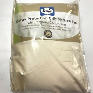 Sealy Organic Cotton Allergy Protection for Crib Mattress Pad new