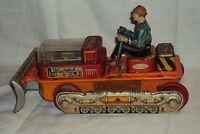 Vintage Rare Tinplate Battery Oprated Bulldozer no 15 T. N. Japan Circa 1960's