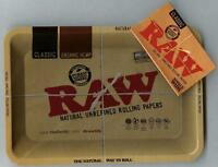 """RAW """"MINI"""" METAL Rolling Tray (7 1/8"""" x 5"""") +PACK of SINGLE WIDE CLASSIC PAPERS"""