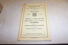 Programme du grand festival de musique du dimanche 1er  2 juin 1952 FLORANGE