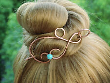 Copper Turquoise Hair Clip Hair Barrette Stick Hair Pin Wire Work Metal Jewelry