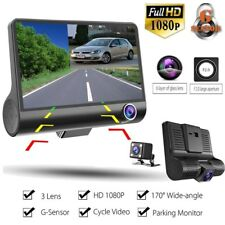 4'' 1080P HD 3 Lens Car DVR Video Dash Cam Camera Night Vision + Rearview Camera