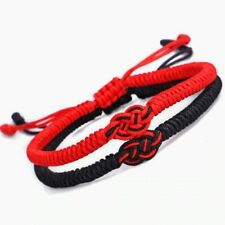 Bracciale cordino tibetano rosso e nero regolabile con nodo dell'infinito